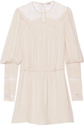 TALITHA Lace-paneled silk-crepe mini dress