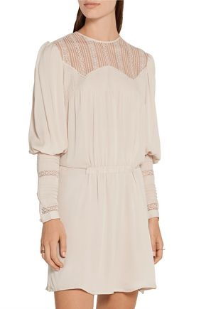 TALITHA Lace-paneled silk-crepe mini dress