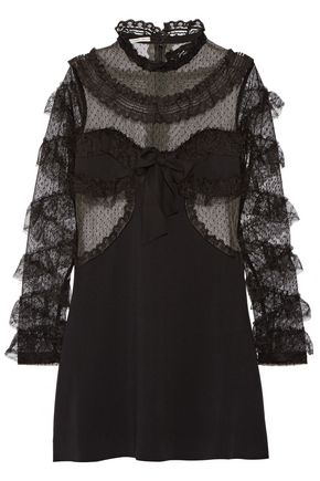 ALESSANDRA RICH Ruffled-trimmed tulle and cady mini dress