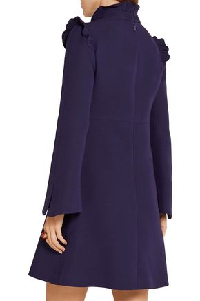 FENDI Ruffled wool and silk-blend mini dress