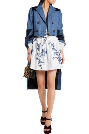MIU MIU Velvet-paneled denim jacket