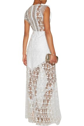 ALEXIS Kasia lace-trimmed embroidered tulle gown