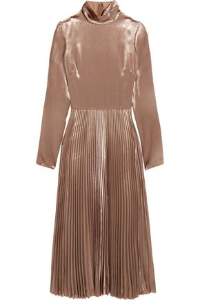VALENTINO Pleated velvet turtleneck midi dress