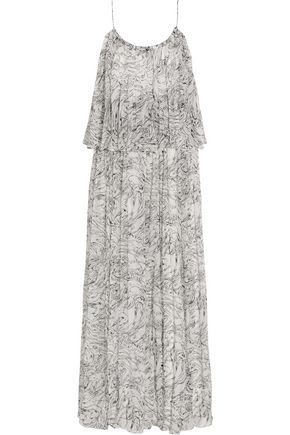 ELIZABETH AND JAMES Wind Mael printed crinkled silk-georgette maxi dress