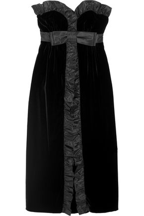 MIU MIU Ruffled silk taffeta-trimmed velvet midi dress