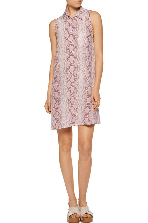 Mina snake-print washed-silk mini dress   EQUIPMENT   Sale up to 70% off    THE OUTNET