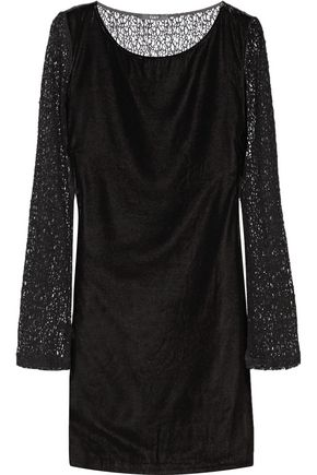 TART COLLECTIONS Caramia paneled velour and corded lace mini dress