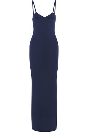 NINA RICCI Ribbed-knit silk maxi dress