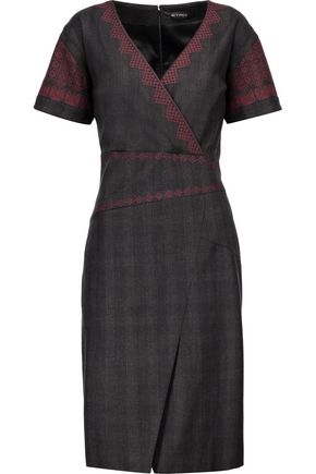 ETRO Wrap-effect embroidered checked wool-blend dress