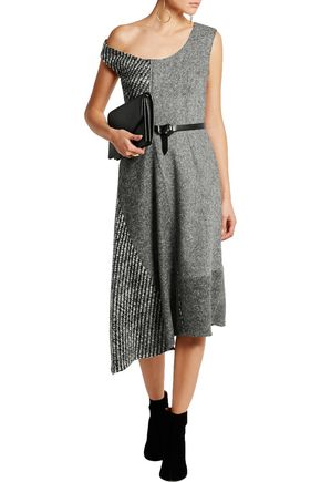 STELLA McCARTNEY Jackie asymmetric paneled wool-tweed dress