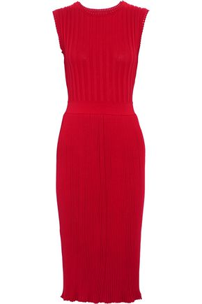 ADAM LIPPES Ribbed stretch cotton-blend midi dress
