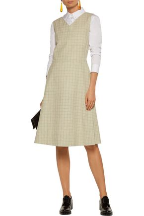 MARNI Pleated checked cotton and linen-blend dress
