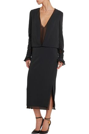 TOM FORD Crepe and silk-chiffon dress