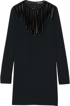 TOM FORD Velvet-trimmed lace-up stretch-cady mini dress
