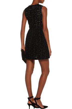 GOEN.J Embroidered velvet mini dress