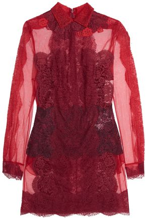 VALENTINO Lace and tulle mini dress