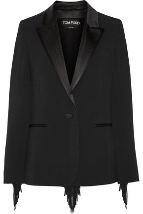 TOM FORD Fringed stretch-cady blazer