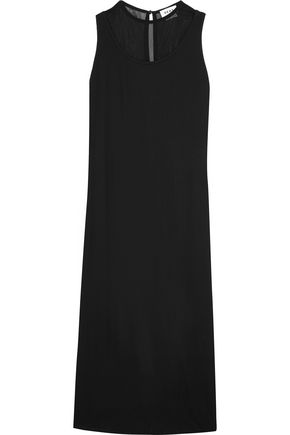 DKNY Mesh-paneled stretch-crepe maxi dress