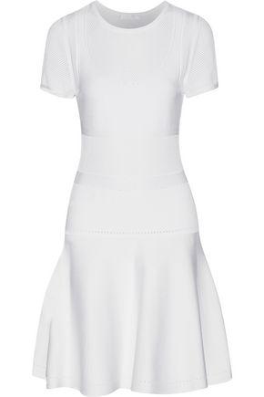 CUSHNIE ET OCHS Paneled stretch and open-knit mini dress