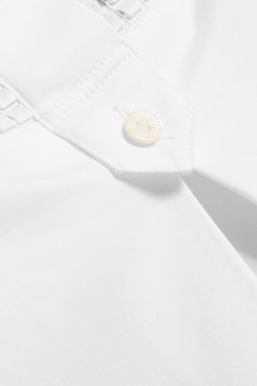 VINCE. Mesh-paneled stretch-cotton crepe dress