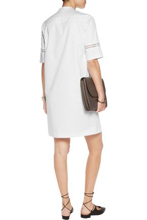 Mesh-paneled stretch-cotton crepe dress