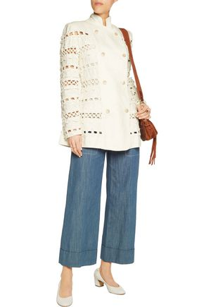 ZIMMERMANN Double-breasted crochet-paneled linen jacket