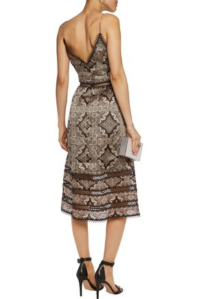 ZIMMERMANN Mischief macramé lace-trimmed printed silk midi dress