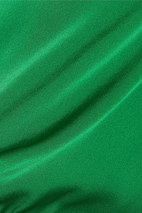 VIONNET Asymmetric stretch-silk and flecked wool-blend dress