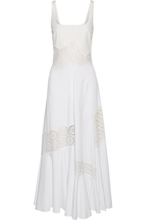 STELLA McCARTNEY Sacha broderie anglaise-trimmed cotton-blend maxi dress