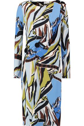 EMILIO PUCCI Gathered printed stretch-jersey dress