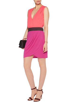 HALSTON HERITAGE Color-block stretch-crepe dress