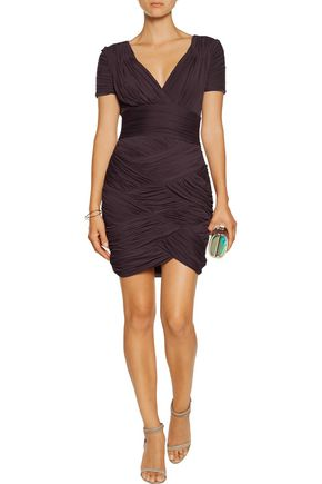 HALSTON HERITAGE Ruched jersey mini dress