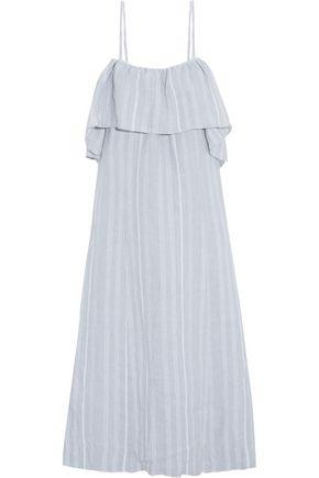 GANNI Off-the-shoulder striped linen midi dress