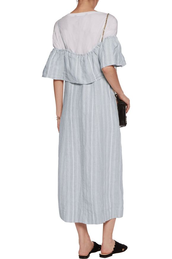 Off-the-shoulder striped linen midi dress | GANNI | Sale up to 70% off |  THE OUTNET