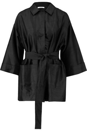 GANNI Appliquéd slub silk jacket