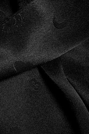 GANNI Printed silk-satin wrap mini dress