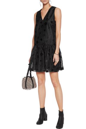 GANNI Embroidered organza mini dress