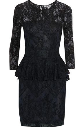 GANNI Lace peplum mini dress