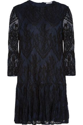 GANNI Ruffled embroidered lace mini dress