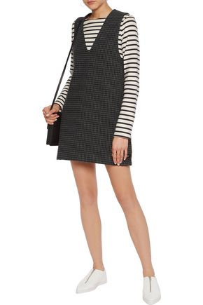 GANNI Houndstooth wool-blend mini dress
