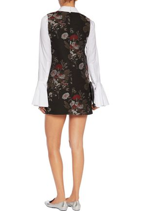 GANNI Cotton-blend jacquard mini dress
