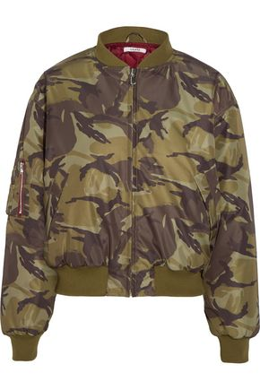 GANNI Coated printed shell bomber jacket