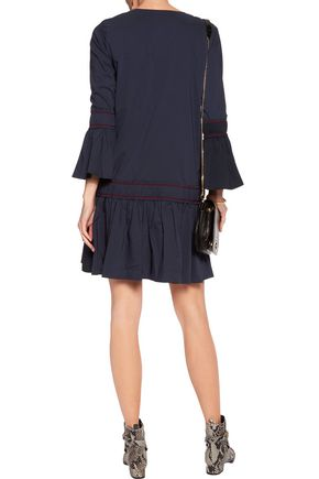 GANNI Smocked embroidered cotton-blend mini dress