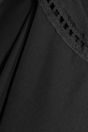 HALSTON HERITAGE Off-the-shoulder crochet-trimmed ponte mini dress