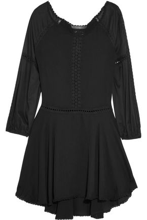 HALSTON HERITAGE Off-the-shoulder crochet-trimmed ponte mini dress