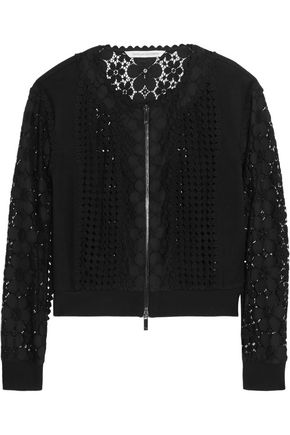 DIANE VON FURSTENBERG Jessica paneled crocheted lace and jersey jacket