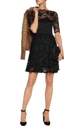 GANNI Gathered lace mini dress
