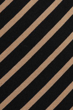 GANNI Striped stretch-cotton midi dress