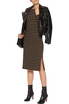 GANNI Striped stretch-cotton midi dress