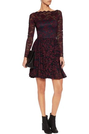 GANNI Pleated lace mini dress